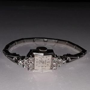Croton 14K white gold & diamond watch - Vtg.
